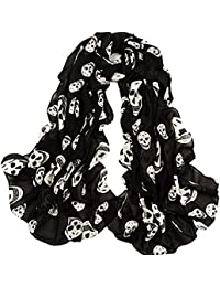 Girls Skulls Printed Black Long Soft Scarf Shawl, White