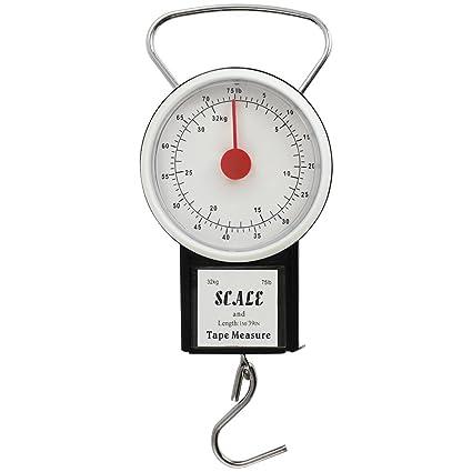 com-four® Báscula para Equipaje de hasta 32 kg con Pantalla analógica, báscula