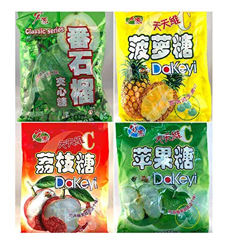 Hong Yuan Classic Series Pineapple Guava Green Apple Lychee Candy 4 Pack 12.3 oz Dakeyi