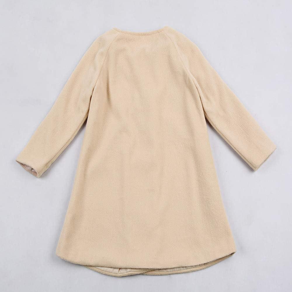 Londony ♪❤ Toddler aby Girls Hooded Coat Kids Woolen Overcoat Winter Double-Breasted Warm Jacket Khaki