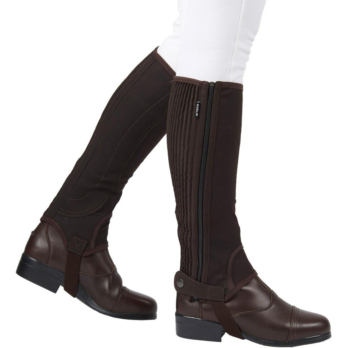 Dublin Childs Easy Care Half Chaps Large Brown