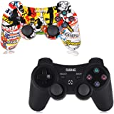 2 Pack PS3 Controller Wireless - OUBANG PS3 Remote for Playstation 3 with Dual Shock,The Best Choice for Gift (Graffiti…