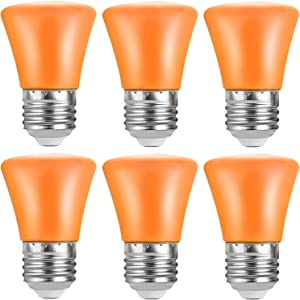 2W LED Orange Light Bulb E26 Base S14 String Colored Lights Bulbs for Wedding Halloween Christmas Party Bar Mood Ambiance Decor 6-Pack