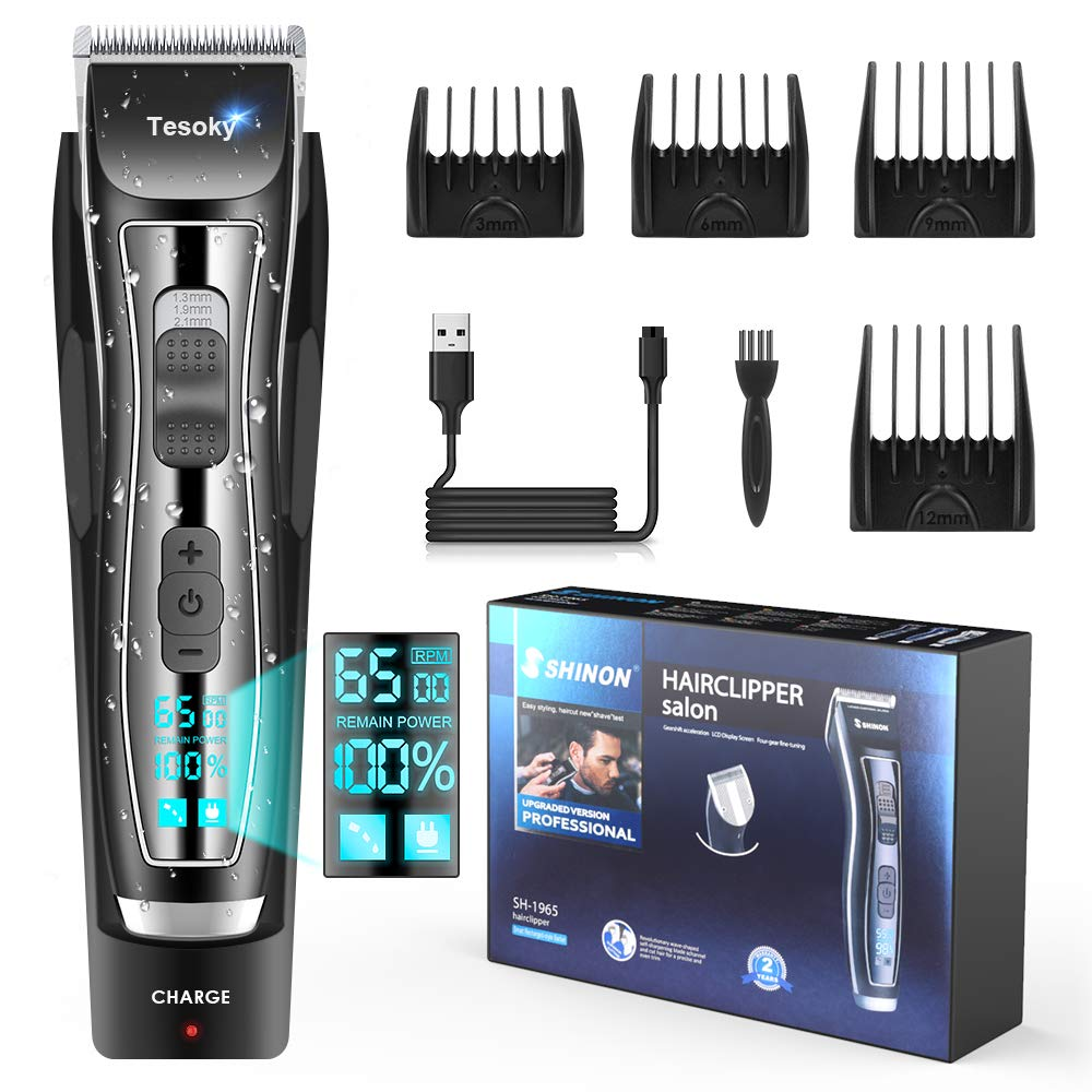 Professional Hair Clipper for Men with LED Screen Cordless Hair Trimmer Hair