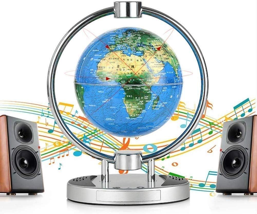 フローティンググローブLEDライト付き6インチ重力サスペンショングローブ磁場サスペンション世界地図グローブ、教育ホームデスクディスプレイ、Bluetoothスピーカー付き