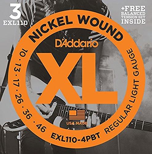 D'Addario EXL110 Bonus 3 Pack With Balanced Tension Set, Regular Light, 10-46, 4 Sets