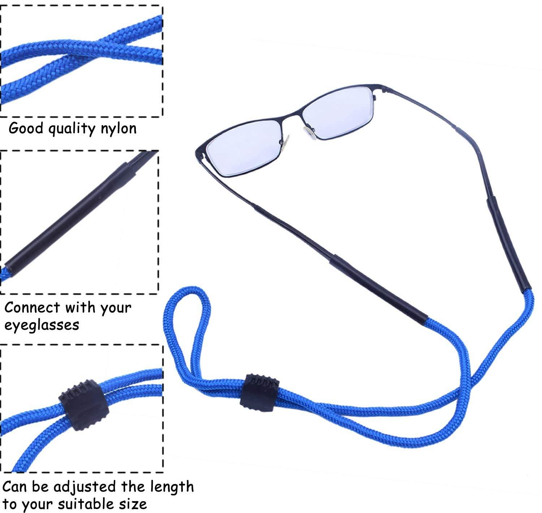 Jdesun 10pcs Sunglass Holder Strap,MultiColor Safety Adjustable Sunglass Glasses Eyeglasses Eyewear Cord Holder Neck Lanyard Strap String for Sports,Kid,Men,Women
