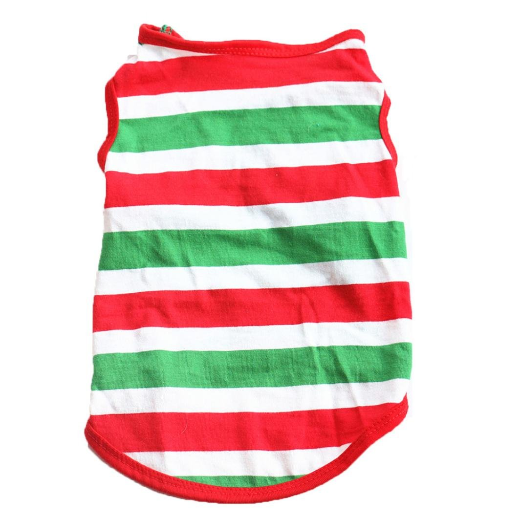 Minisoya Pet Dog Summer Vest Apparel Sleeveless Multicolor Stripe T-Shirt Fashion Puppy Costume Doggy Clothes M)