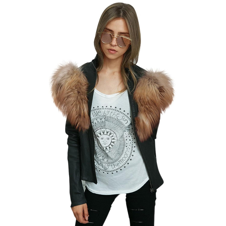 Women Fashion PU Leather Coat with Fake Fur Collar Long Sleeve Zippered Jacket at Amazon Womens Coats Shop