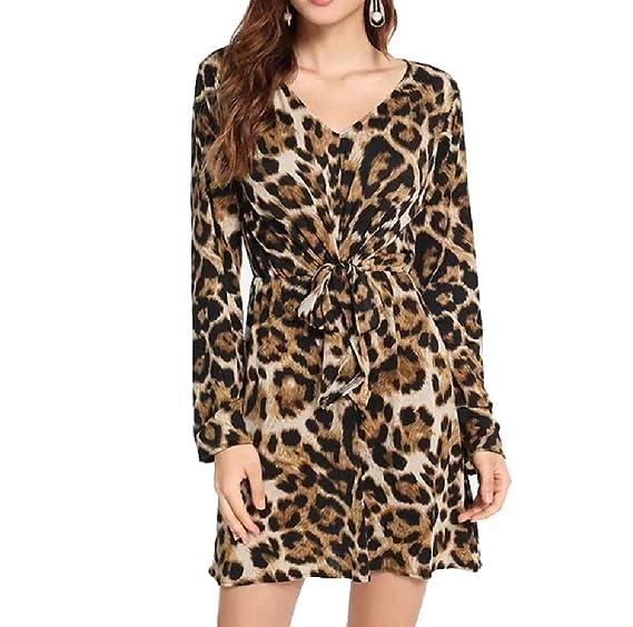 5c95efa10b9840 Vinyst Women's Sexy V Neck Leopard Print Mini Party Fashion Club Dress  Coffee S