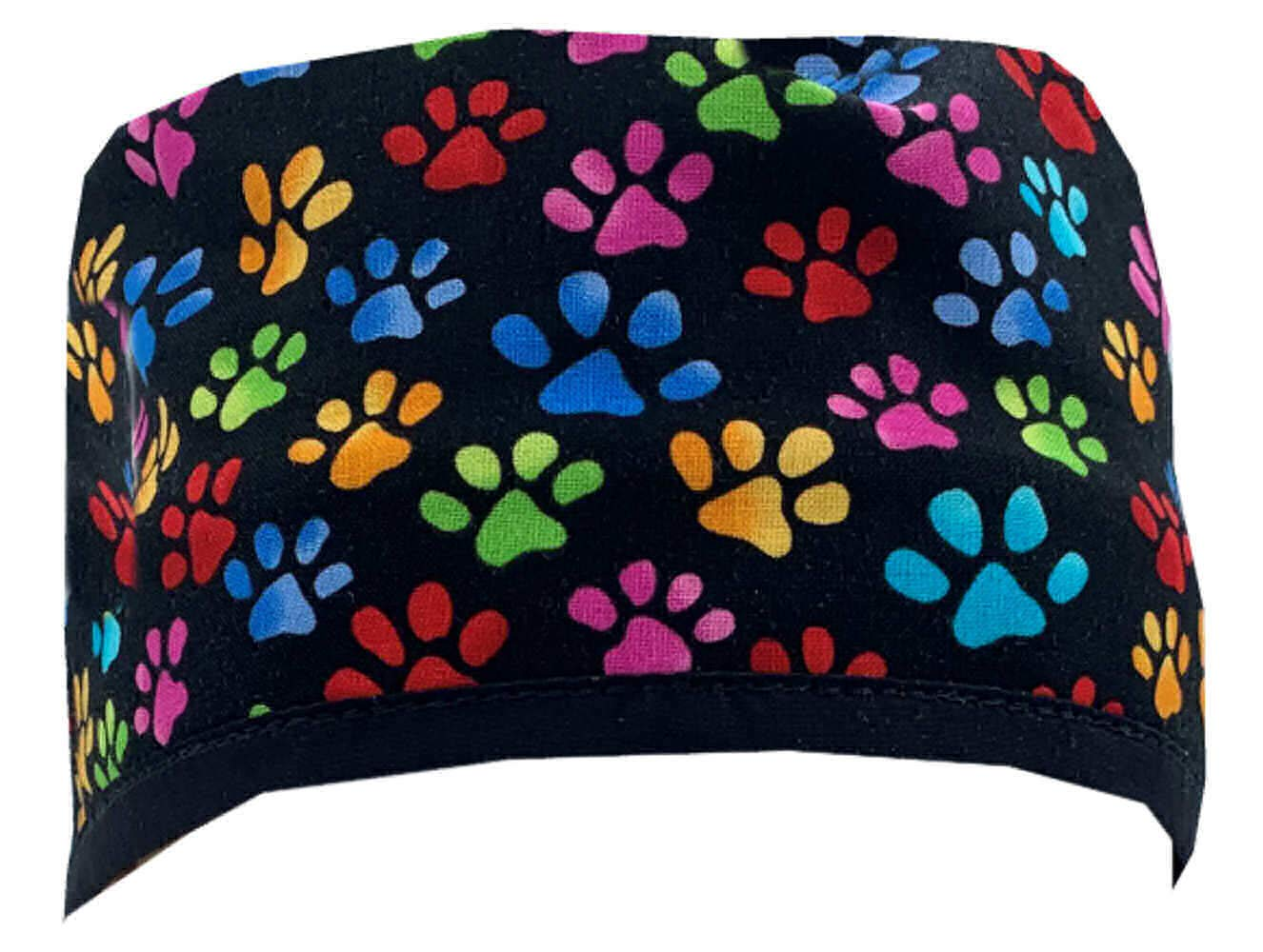 Mens and Womens Surgical Scrub Cap - Multi Color Paws w/Black Ties by Sparkling Earth