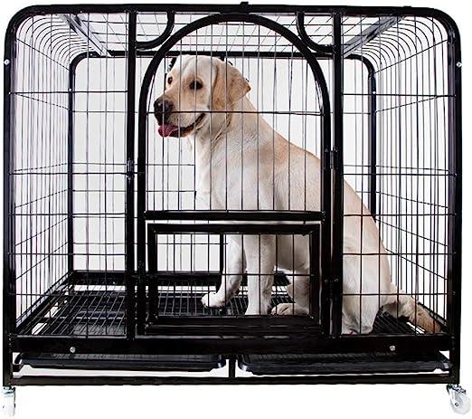 Jaula para Perros de Servicio Pesado de Black Pet Crate con 4 ...