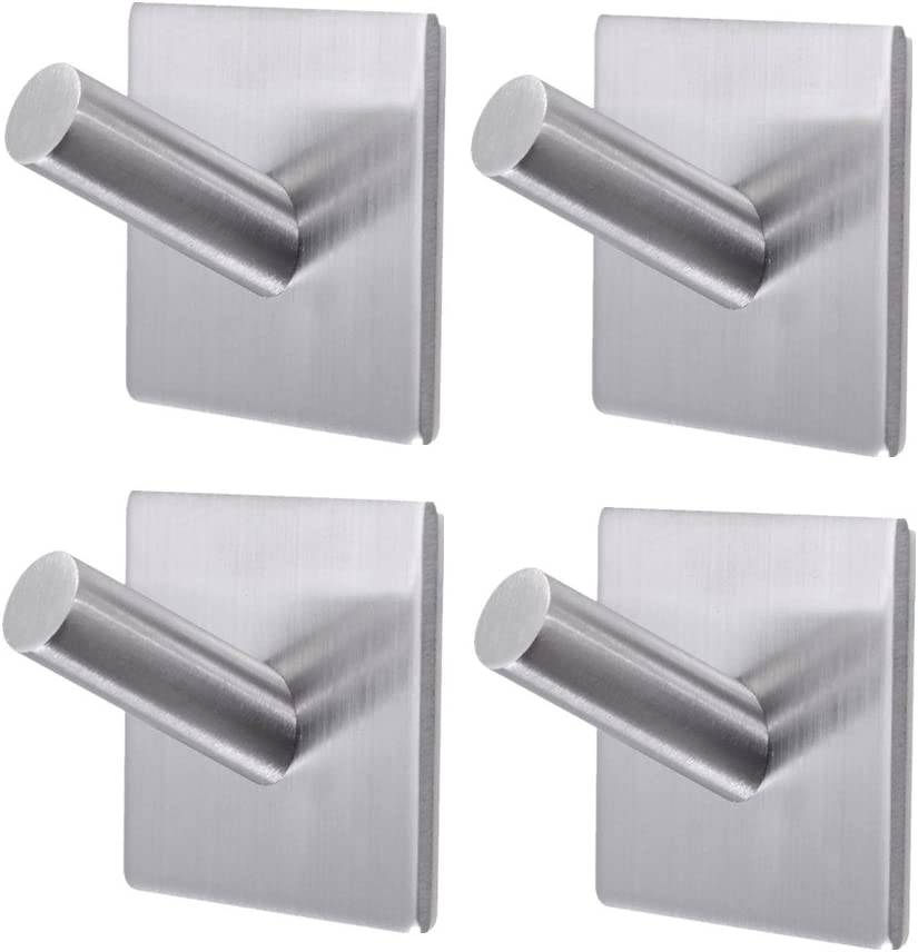 2//5X Adhesive Sticker Hook Wall Door Cloth Coat Hat Hanger Bathroom Towel Hooks