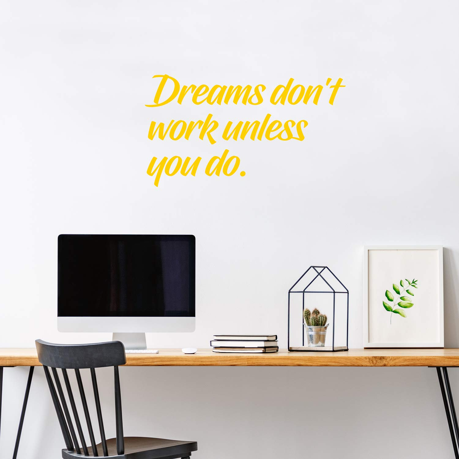 Vinyl Wall Art Decal 15 x 27, Yellow Dreams Dont Work Unless You Do Pulse Vinyl 15 x 27 Motivational Quotes for Home Bedroom Work Office Gym Fitness Apartment Living Room Workplace Sticker Decor