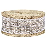 Shappy 433 inch Natural Burlap Ribbon Roll Burlap Fabric White Lace Trims Tape Burlap Border for Wedding Decoration DIY Craft