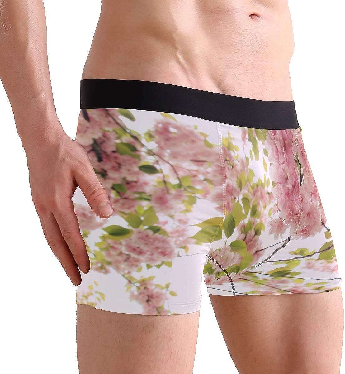 Mens 2-Pack Boxer Briefs Polyester Underwear Trunk Underwear with Peach Blossom Design