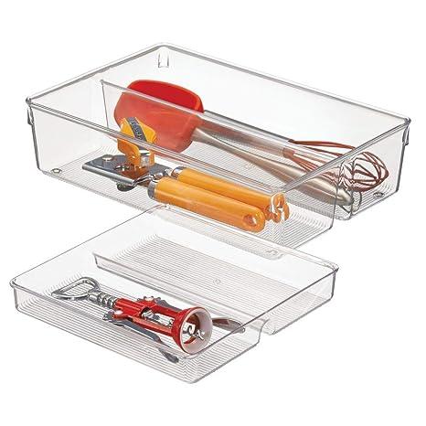 mDesign Cubertero doble para cajones de cocina – Bandeja para cubiertos con 4 compartimentos – Ideal