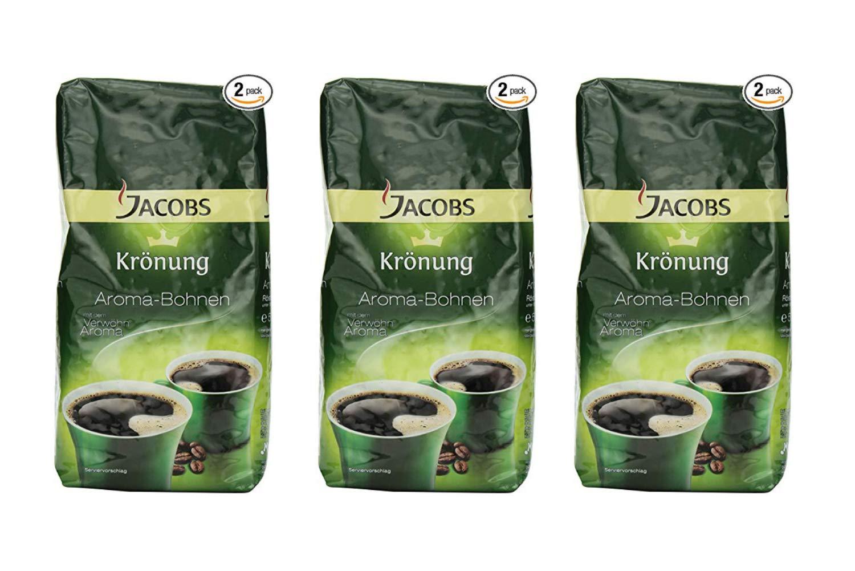 Jacobs Kroenung Aroma-Bohnen (Kroenung Whole Bean Coffee), 17.6-Ounce Vacuum Packs (Pack of 2) (3 Pack)