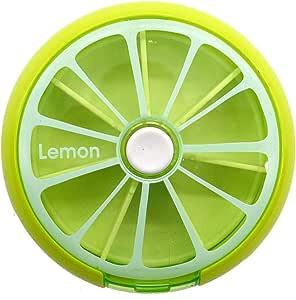 منظم حبوب دواء محمول للسفر للاستخدام اليومي - شكل ليمون