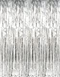 Rhode Island Novelty Metallic Silver Foil Fringe Curtains Pkg/3