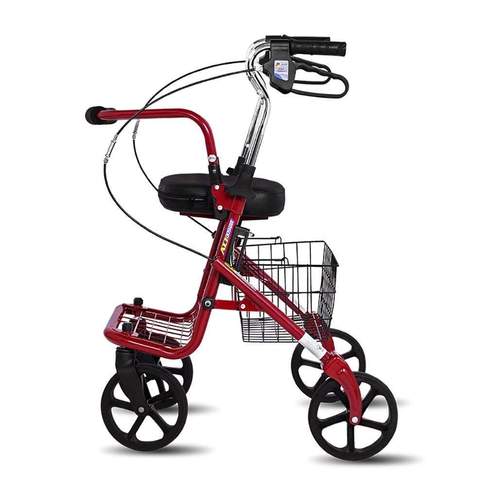 Folding Four-Wheeled Walker Adjustable Height with Seat and Basket for The Elderly Shopping Aluminum Walking Frame Pedal Walker Trolley Auxiliary Walking Safety Walker
