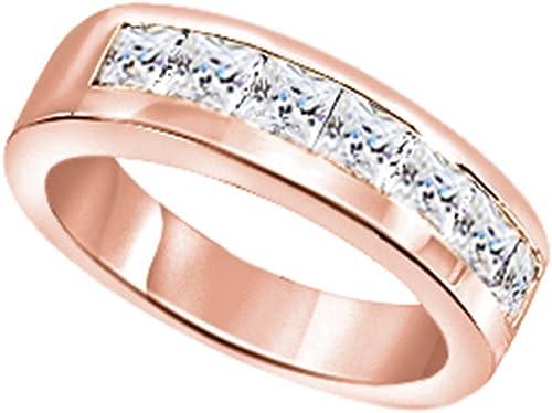 Wishrocks 14K Gold Over Sterling Silver Cubic Zirconia Mens Hip Hop Wedding Band Ring