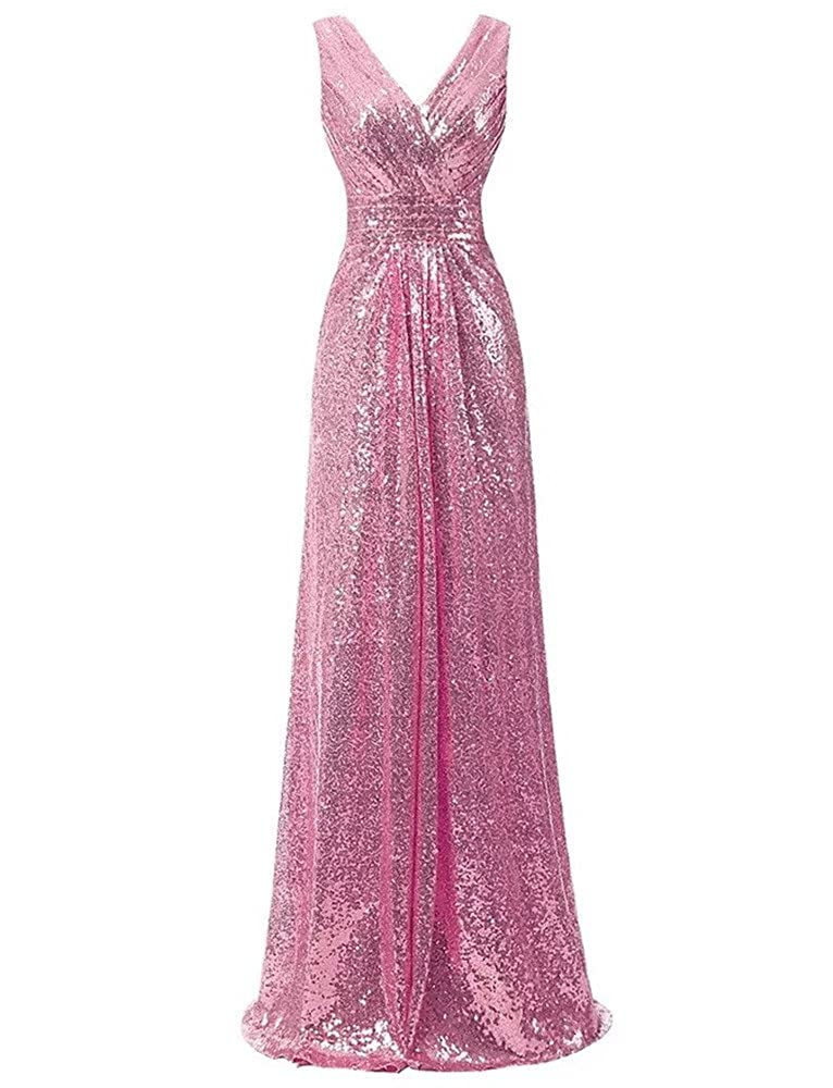 600 Pink Lanier gold Sequins Bridesmaid Dresses Formal Evening Gowns