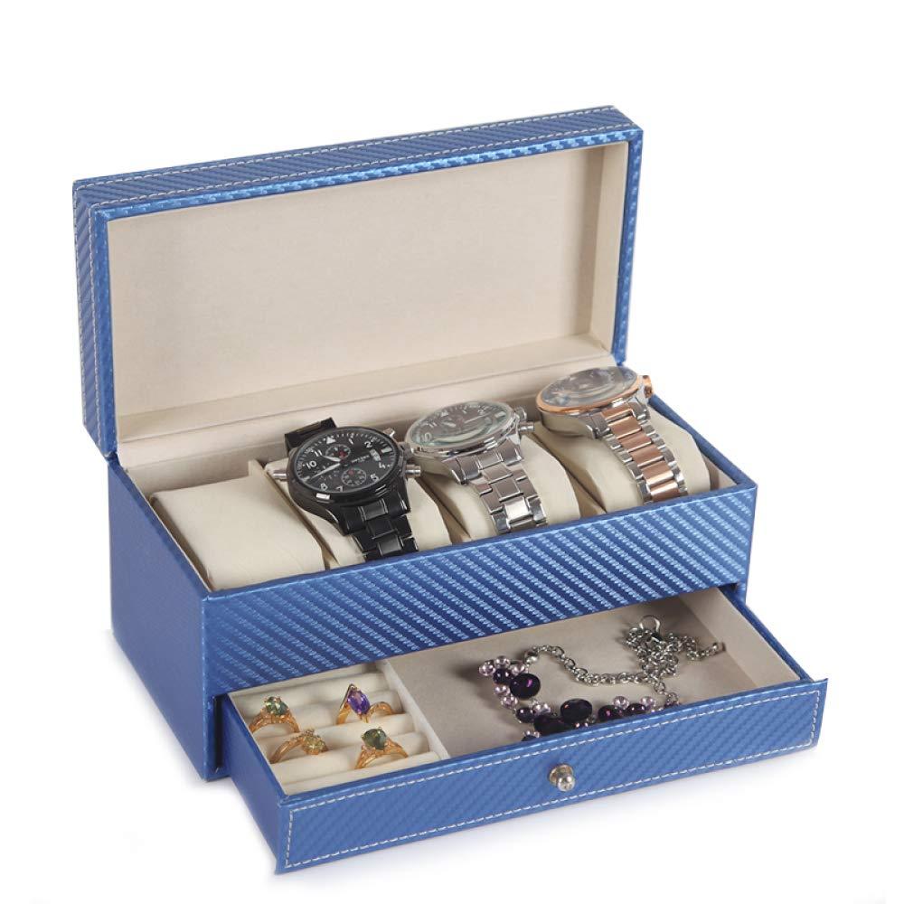 Caja de Reloj de Doble Caja de Almacenamiento de Cuero de la PU Caja de Almacenamiento de múltiples Funciones Impermeable y Resistente al Desgaste: ...