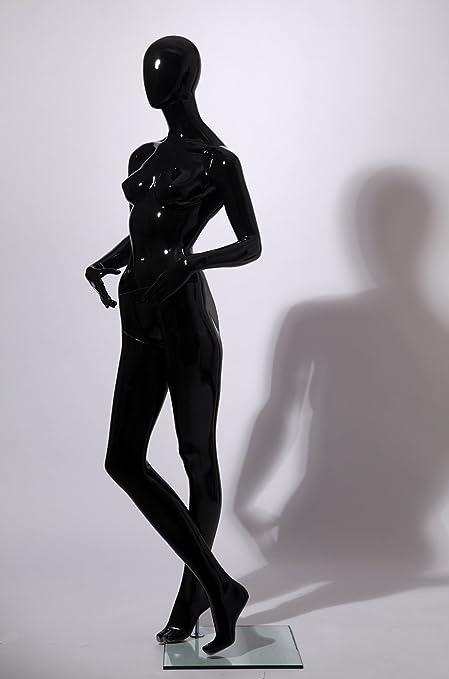 DF7+8D Weiblich Abstrake Schaufensterpuppe Galvanik Kopf Hände Neu Schwarz