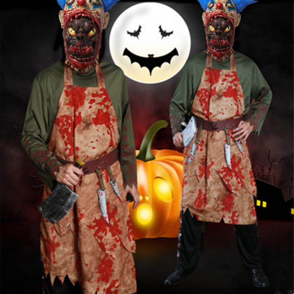 Scary Halloween Costume Party Animal Head Mask Zombie Horror face mask Evil Killer Costume for Adults (Blood face)