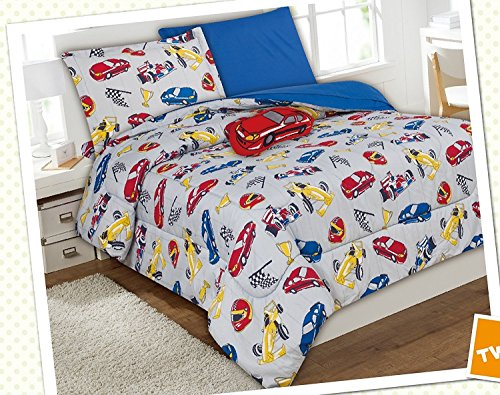 WPM Race Car red blue print bedding set choose from Full/Twin comforter or bed sheets or window curtains panels for kids/girls/boys room (Twin Comforter) ()