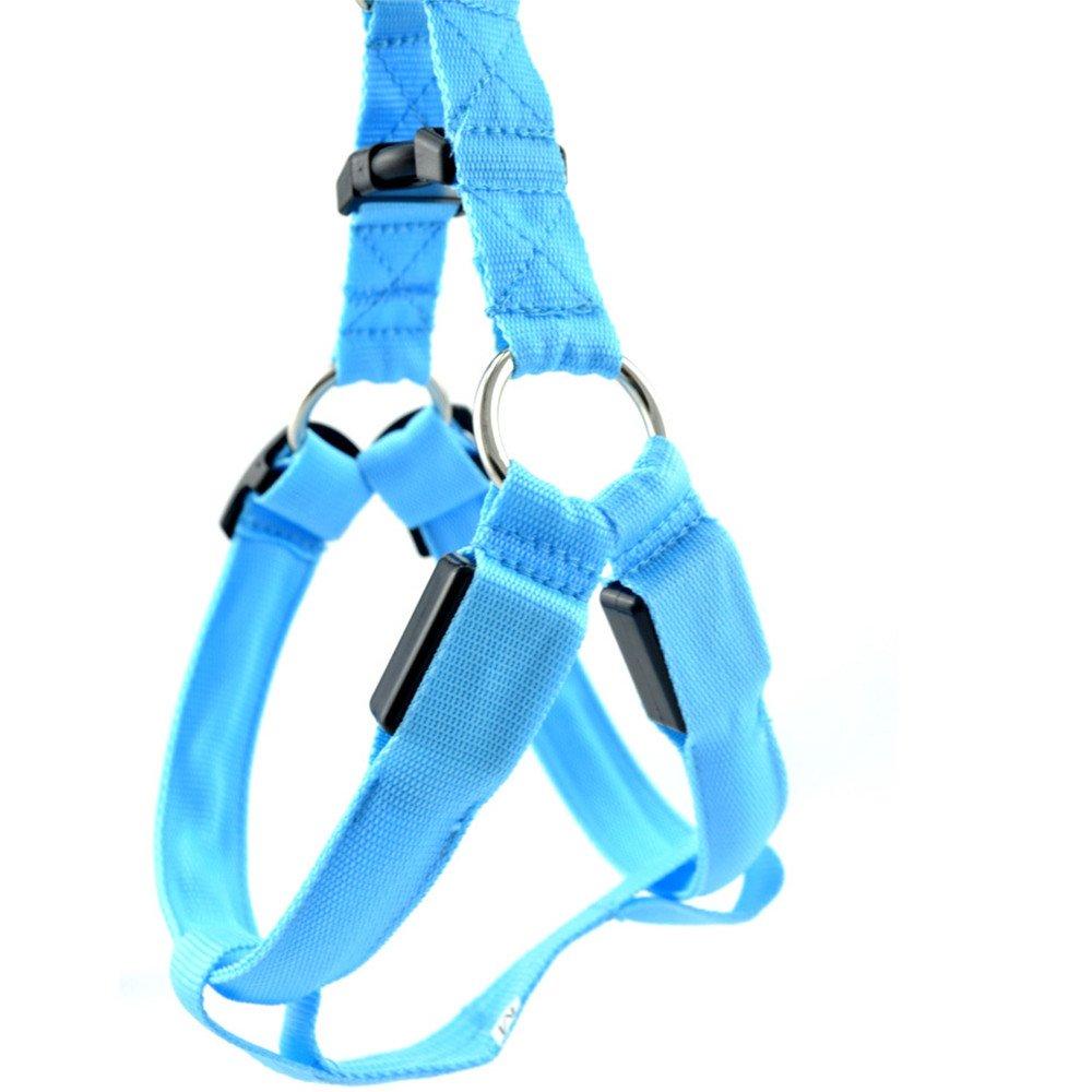 mascotas perros accesorios arnes deportiva perros arnes pet harness perro collar chaleco, Luminoso ajustable, correas de Nylon LED Sannysis