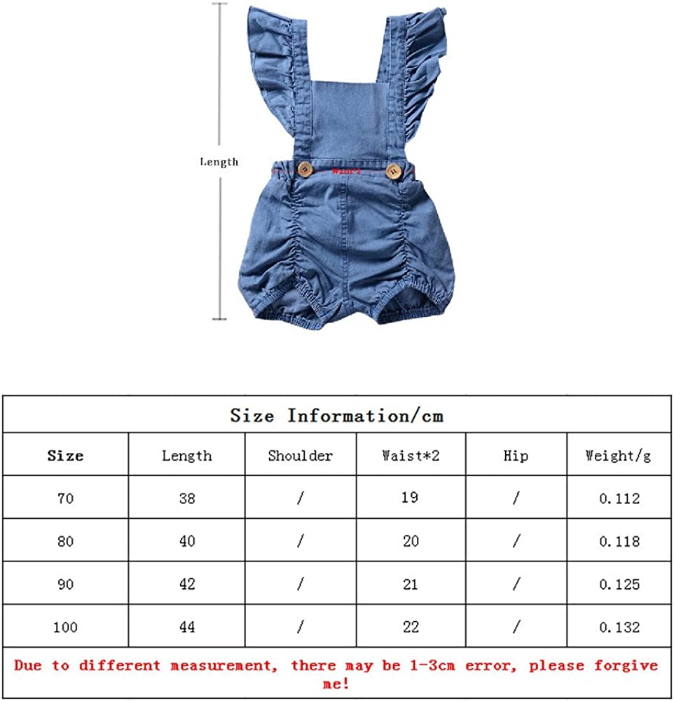 Moyikiss Studio Newborn Baby Girl Denim Ruffles Romper Sunsuit Outfits Clothes Summer Sleeveless Solid Baby Girl Jumpsuit