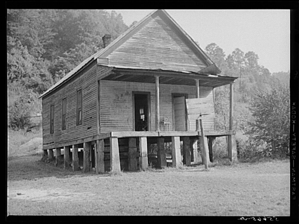 1940 Photo One-room schoolhouse showing overcrowded conditions and need for repairs and equipment. Breathitt County, Kentucky Location: Breathitt County, Kentucky
