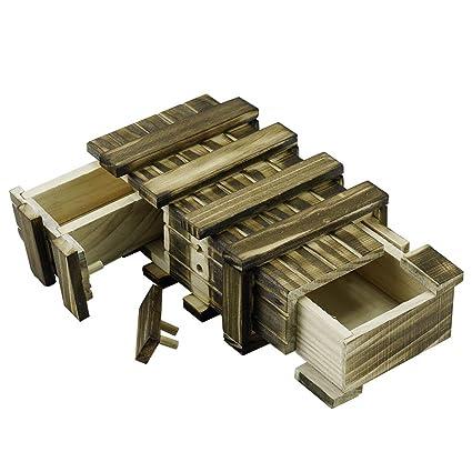 Locisne Caja de regalo de madera mágica 2 compartimentos de almacenamiento extra seguros Caja de recuerdo