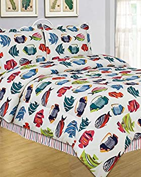 4pc King Size Colorful Tropical Rainbow Fish Comforter Set