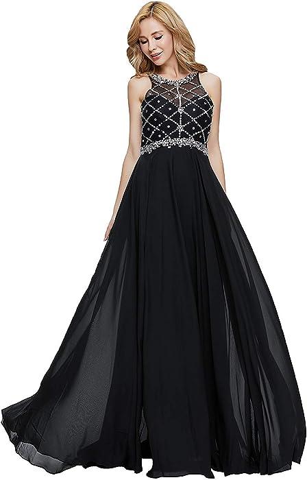 228e64e8103 20KyleBird Gorgeous Halter Scoop Neckline Sleeveless Prom Dresses 2018 Long  Beaded Chiffon Dresses for Women Plus