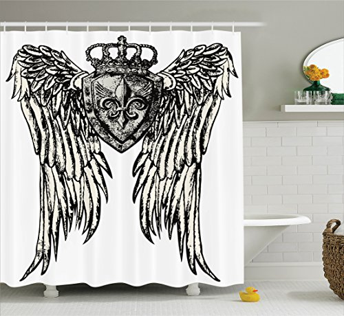 Ambesonne Fleur De Lis Decor Collection, Tribal Tattoo Design with Wings Aged Arms Badge Crest Crown Eagle, Polyester Fabric Bathroom Shower Curtain Set with Hooks, Black and (Badge Collection)