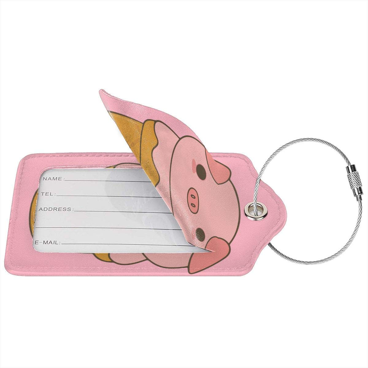 Cute Ice Cream Pig Leather Luggage Tags Suitcase Tag Travel Bag Labels With Privacy Cover For Men Women 2 Pack 4 Pack