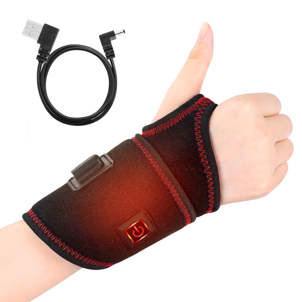 Heat Wrist Wrap, Electric Heating Wrist Brace, 3 Temperature Levels with One Button Control, Heated Wrist Hand Support for Carpal Tunnel, Arthritis, Tendonitis, Bruises & Sprains, Men and Women