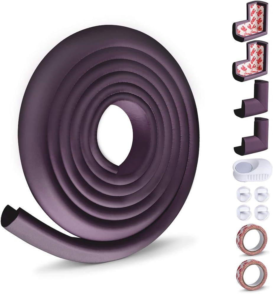 Kit de Seguridad con Adhesivo de 3M 8 Cantos Protectores y 1 Rollo para Mesa Muebles Marr/ón Opret Kit de Protector para Esquinas y Bordes para Beb/és y Ni/ños 1 Tope Puerta