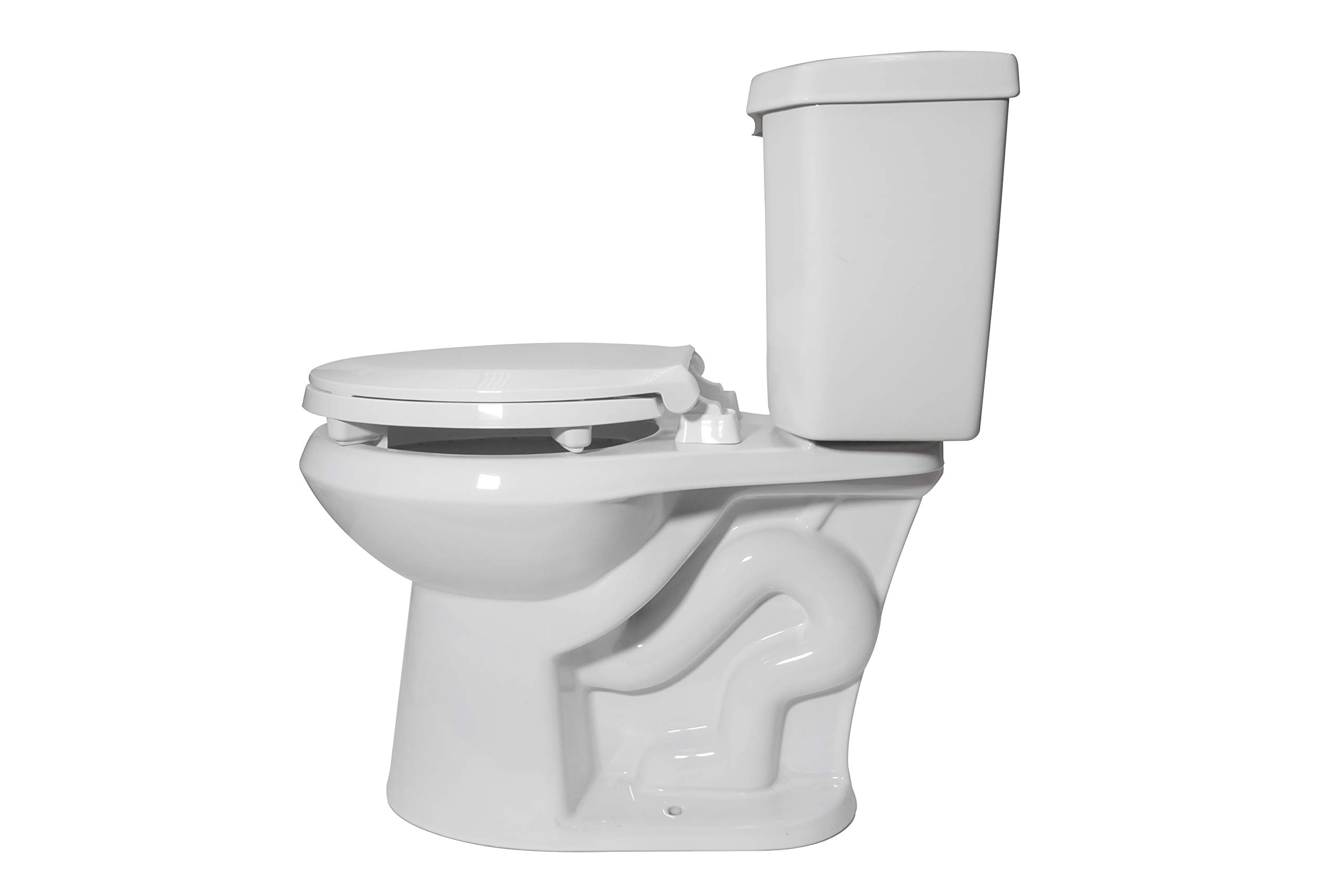 Centoco HL440STS-001 Round 2'' Lift, Raised Plastic Toilet Seat, Closed Front with Cover, ADA Compliant Handicap Medical Assistance Seat, White