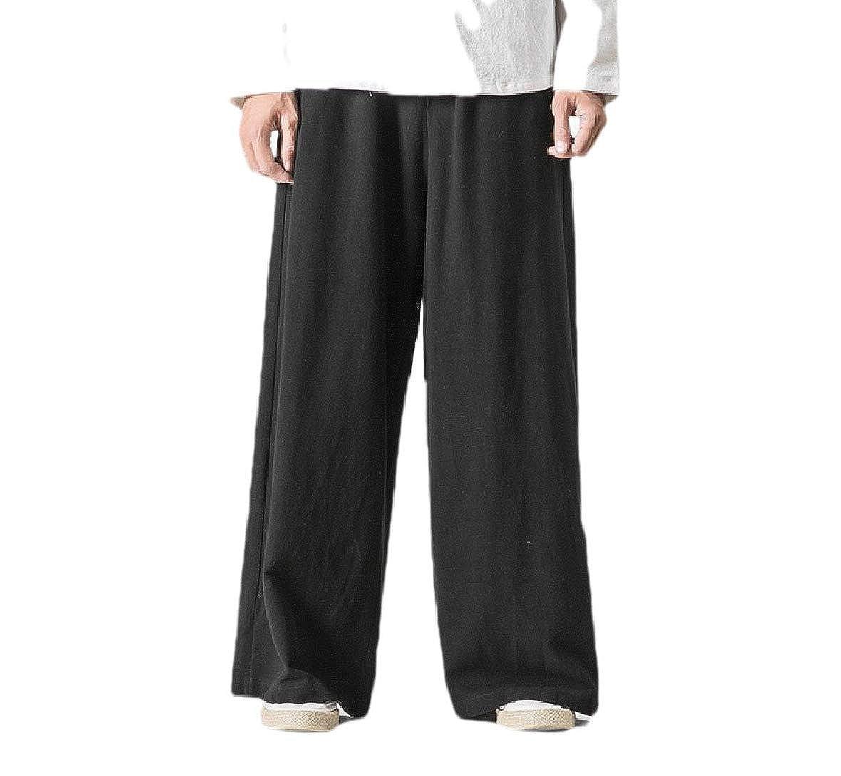 HEFASDM Men Big /& Tall Elastic Waist Straight-Fit Trousers Pull-on Pants