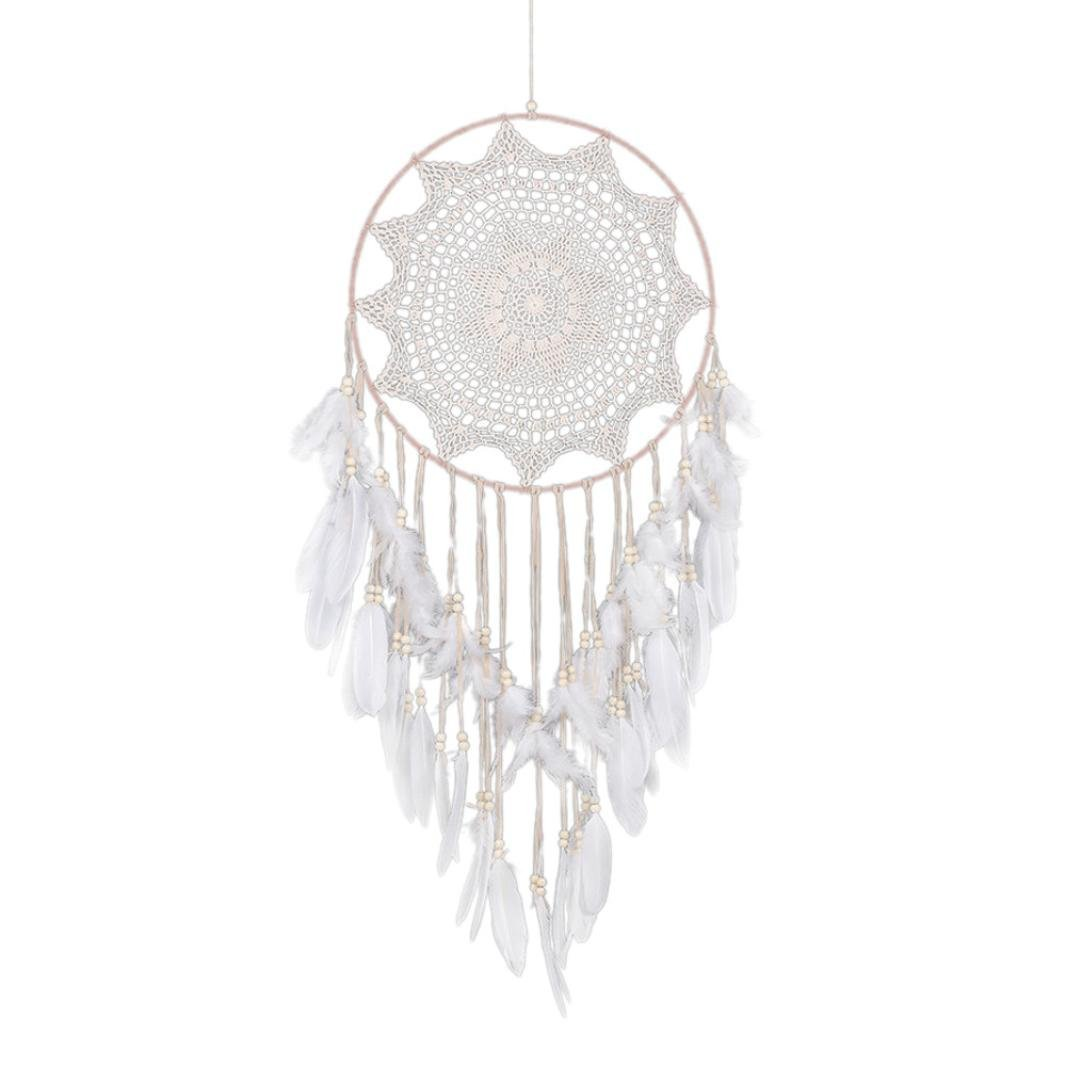 Home & Garden,Dartphew 1Pcs FASHION Feather Bead Hanging Decoration - Handmade Lace Dream Catcher Ornament Handmade Gift,Ornament Gift,Bright Color - Great Decoration(White,110cm in length)