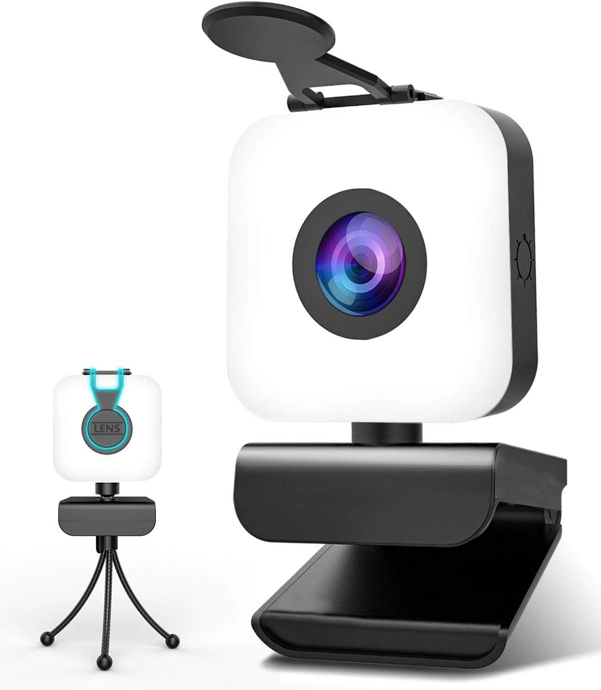 MHDYT Webcam PC con Microfono y Aro de Luz, Camara Web 1080p con Tapa y Tripode para Ordenador/Portatil/Mac, Web CAM para Youtube, Skype, Zoom, Xbox One, Videoconferencia y Videollamadas