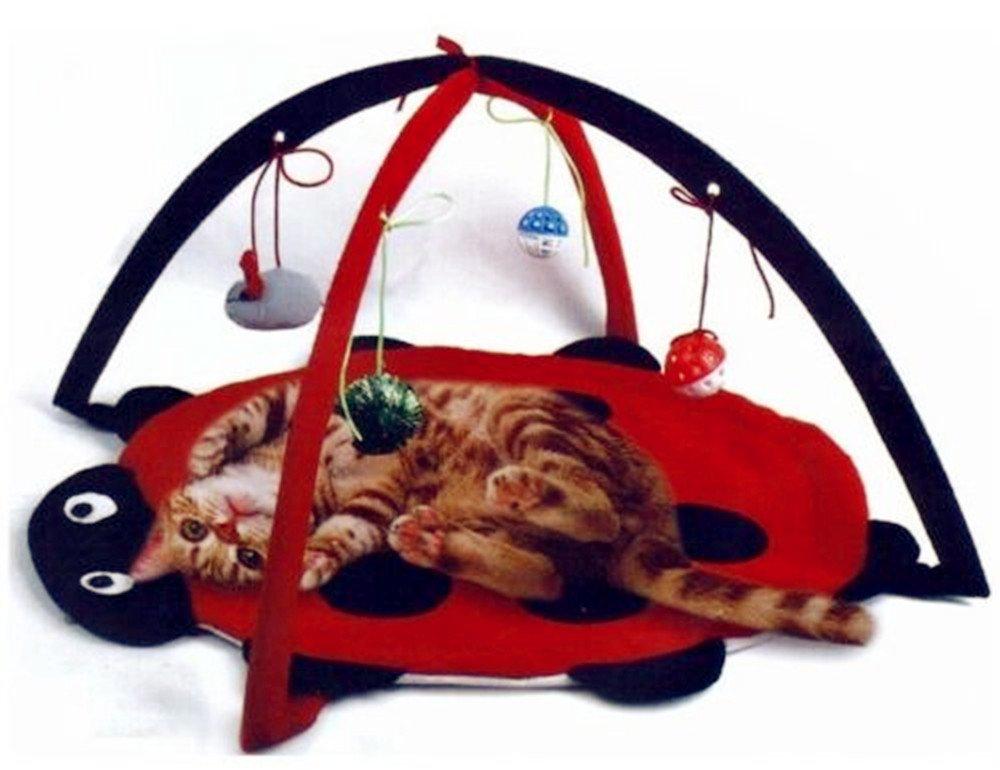 Petty Love House Cat Activity Center with Hanging Toy Balls, Mice & More