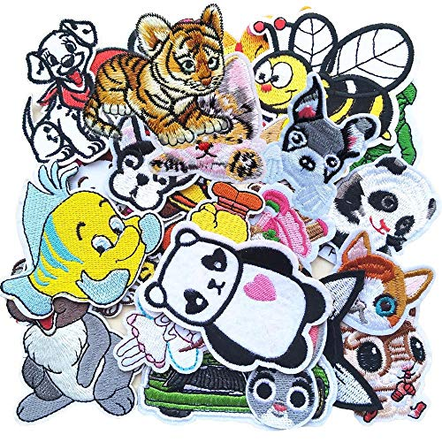 Qingxi Charm 24pcs Assorted Cartoon Animals Sewing on/Iron on Embroidered Patches Clothes Dress Hat Pants Shoes Curtain Sewing Decorating DIY Craft Embarrassment Applique Patches (Cartoons -