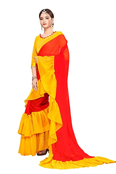 5f5a499ea2bf6d Fab Dadu Women s Ruffle Georgette Saree With Blouse Piece (Fd-Sr-10078 Red)  …  Amazon.in  Clothing   Accessories