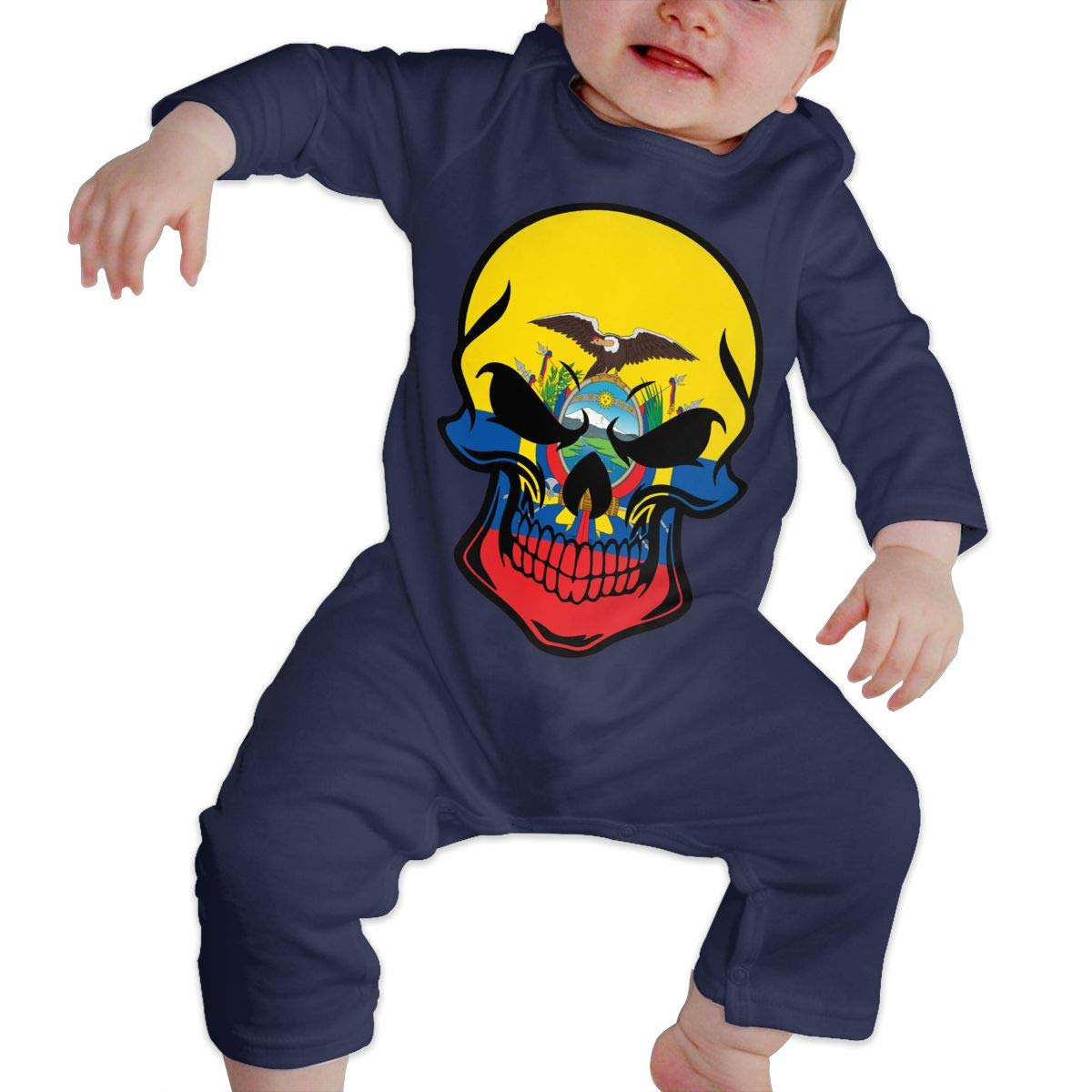 LBJQ8 Ecuadorian Flag Skull Baby Boys Essential Basic Bodysuits Coverall Jumpsuit