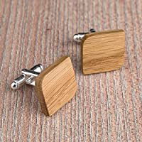 Free shipping: Wood cufflinks. Rounded Square real oak cufflinks. Custom personalized initial monogram cufflinks. Engraved jewelry for men. Wedding groomsmen groom gifts